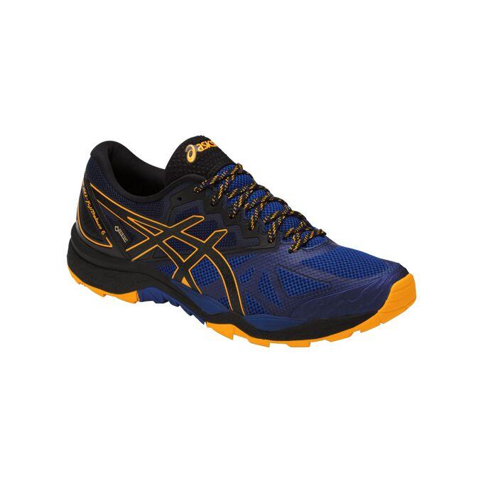 Фото 3 - Мужские кроссовки ASICS FujiTrabuco 6 G-TX, Цвет: Blue/Black/Gold Fusion